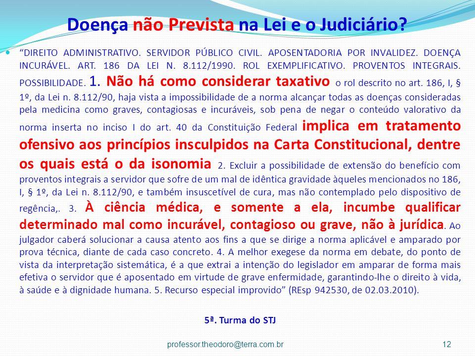 Doença não Prevista na Lei e o Judiciário