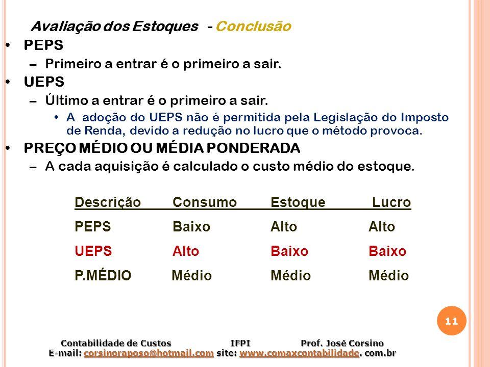 Avaliação dos Estoques - Conclusão PEPS UEPS