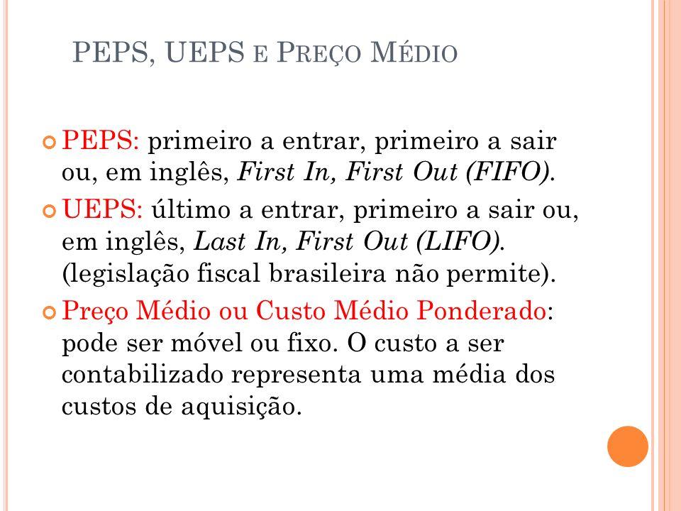 PEPS, UEPS e Preço Médio PEPS: primeiro a entrar, primeiro a sair ou, em inglês, First In, First Out (FIFO).