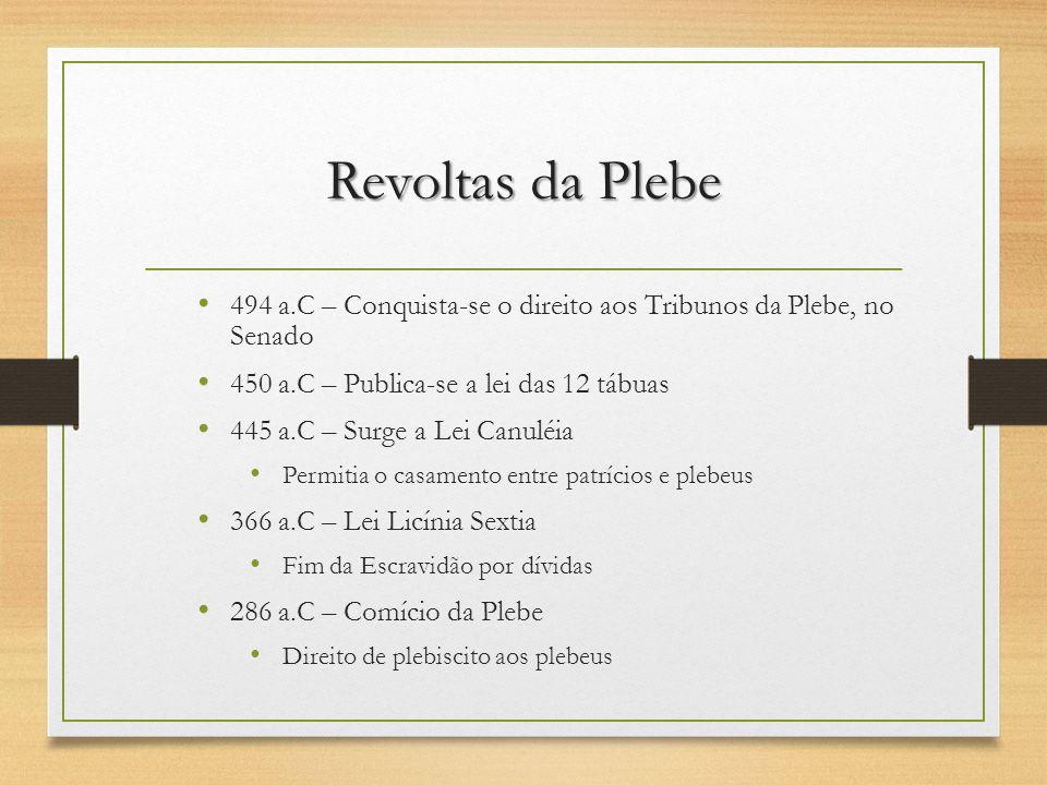 Revoltas da Plebe 494 a.C – Conquista-se o direito aos Tribunos da Plebe, no Senado. 450 a.C – Publica-se a lei das 12 tábuas.