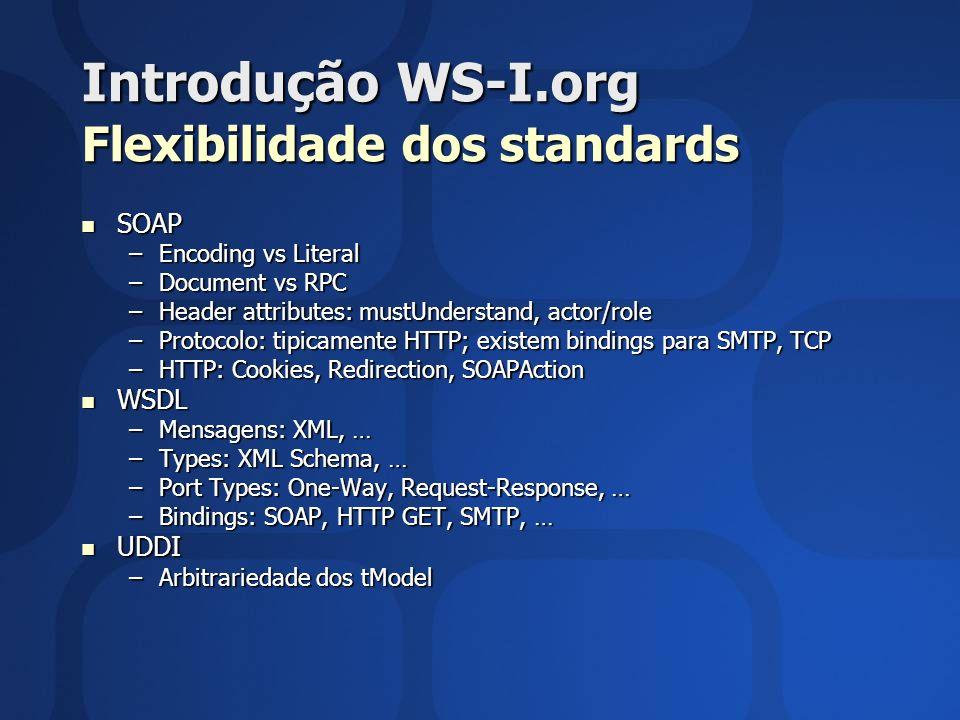 Introdução WS-I.org Flexibilidade dos standards