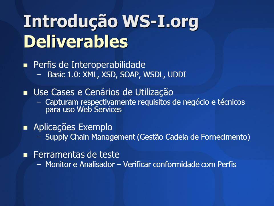 Introdução WS-I.org Deliverables