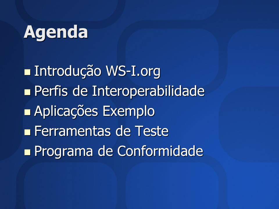 Agenda Introdução WS-I.org Perfis de Interoperabilidade