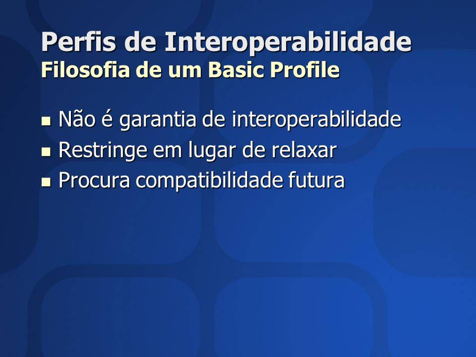 Perfis de Interoperabilidade Filosofia de um Basic Profile