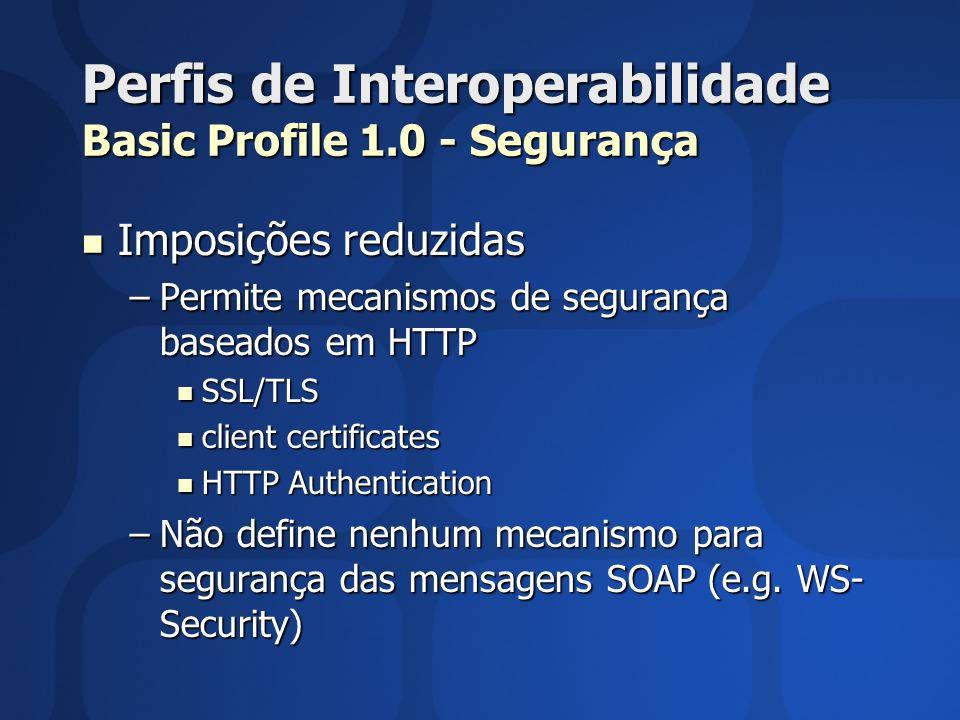 Perfis de Interoperabilidade Basic Profile 1.0 - Segurança