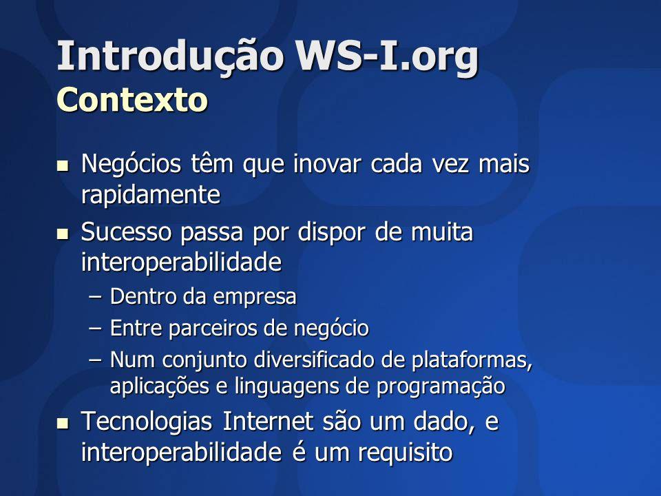 Introdução WS-I.org Contexto