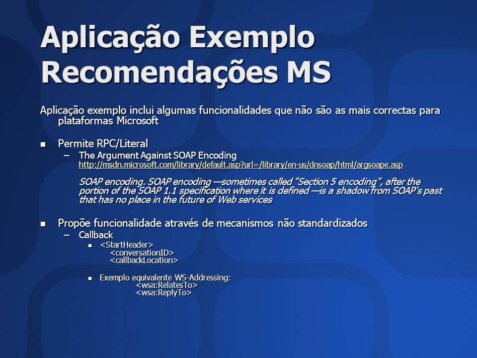 Aplicação Exemplo Recomendações MS