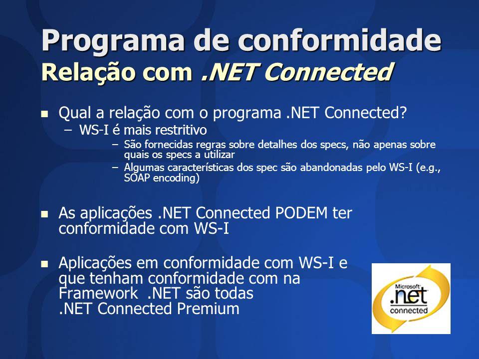 Programa de conformidade Relação com .NET Connected