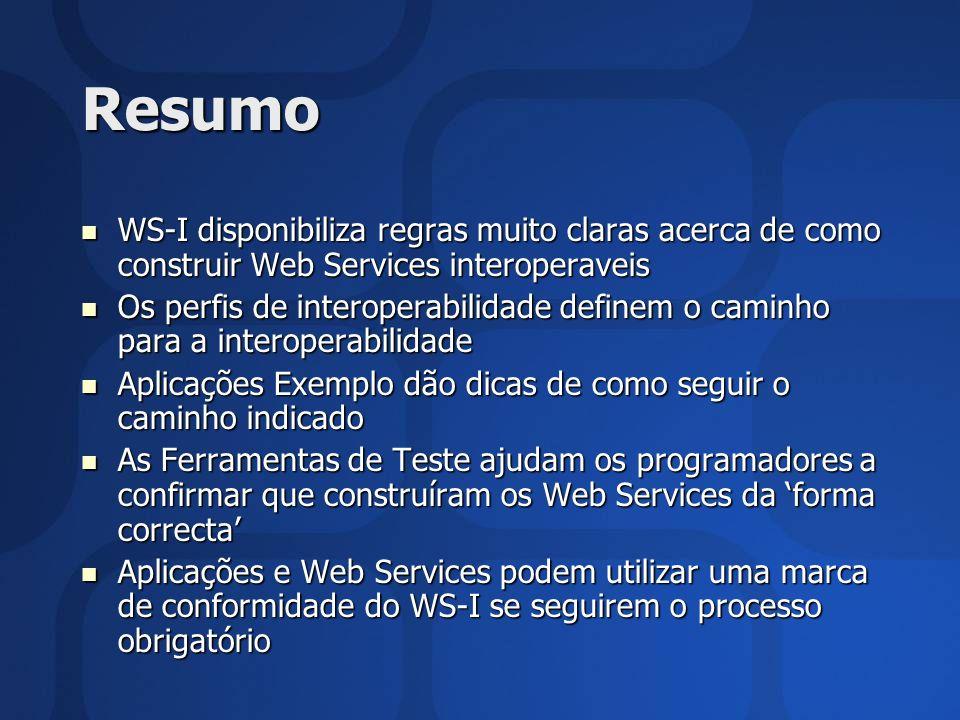 Resumo WS-I disponibiliza regras muito claras acerca de como construir Web Services interoperaveis.