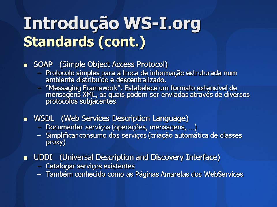 Introdução WS-I.org Standards (cont.)