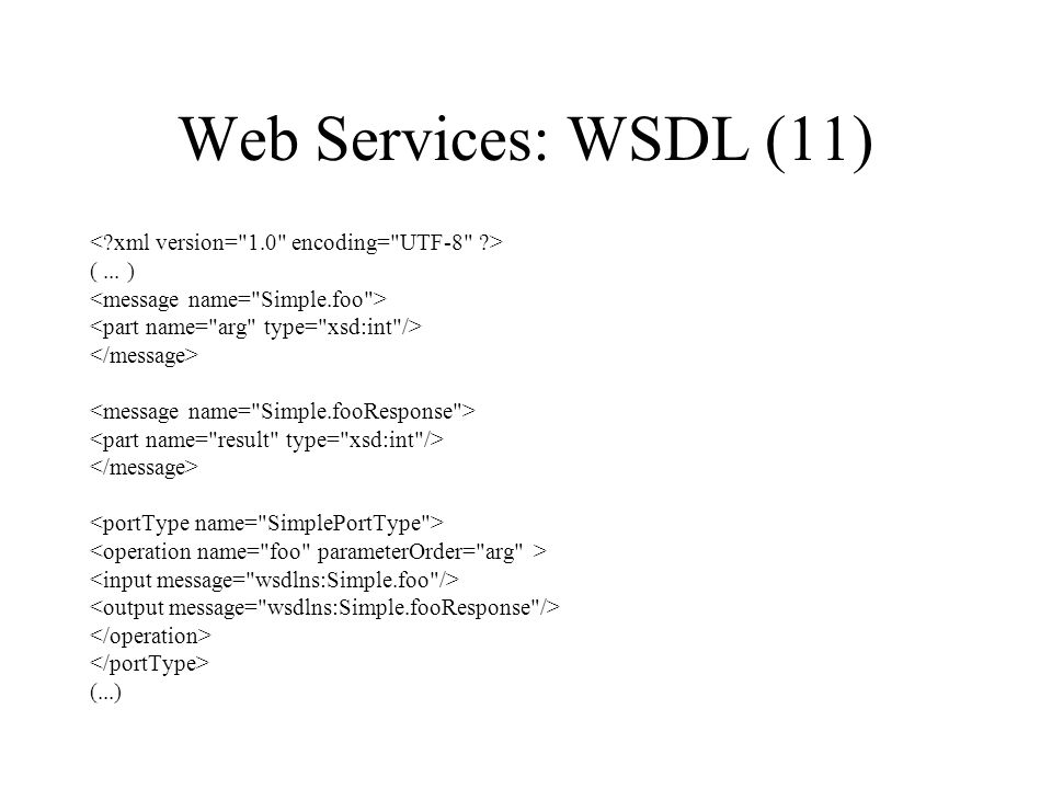 Web Services: WSDL (11) < xml version= 1.0 encoding= UTF-8 >
