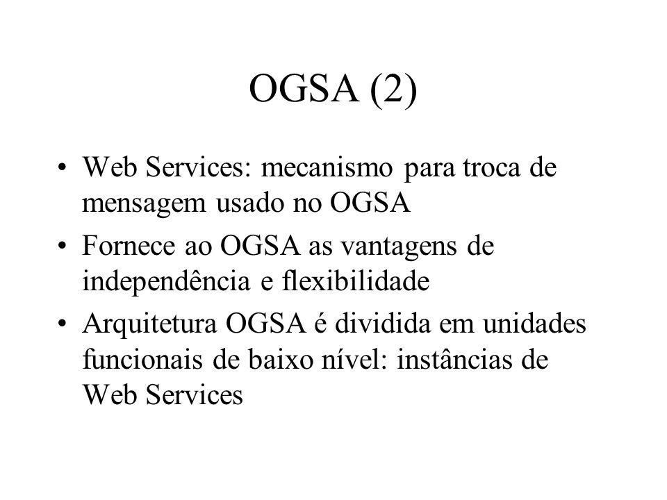 OGSA (2) Web Services: mecanismo para troca de mensagem usado no OGSA