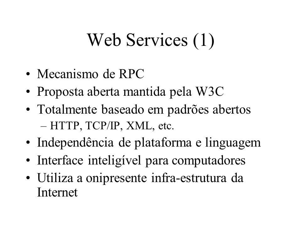 Web Services (1) Mecanismo de RPC Proposta aberta mantida pela W3C