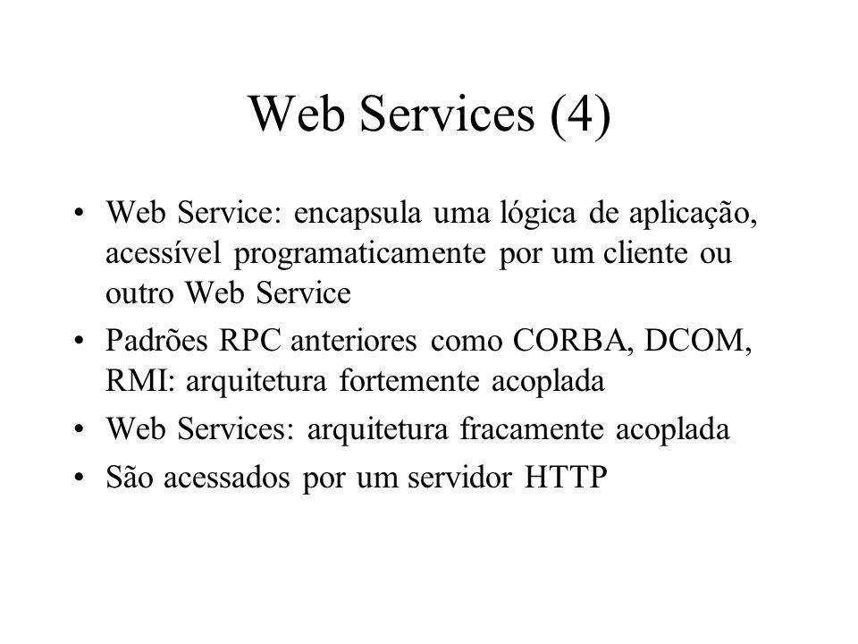 Web Services (4) Web Service: encapsula uma lógica de aplicação, acessível programaticamente por um cliente ou outro Web Service.