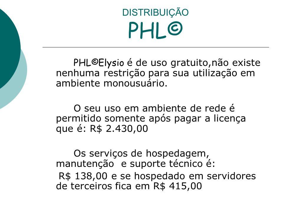 DISTRIBUIÇÃO PHL© PHL©Elysio é de uso gratuito,não existe nenhuma restrição para sua utilização em ambiente monousuário.