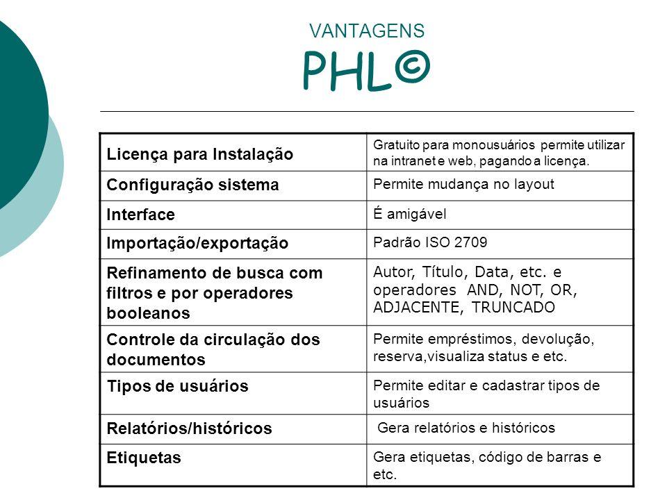 VANTAGENS PHL© Licença para Instalação Configuração sistema Interface