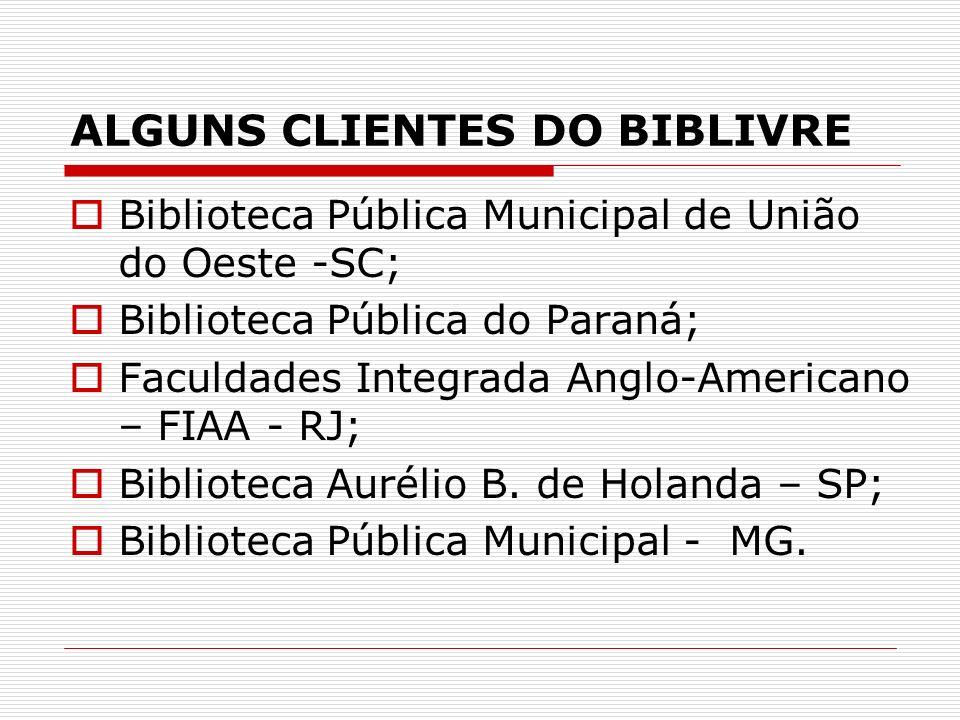 ALGUNS CLIENTES DO BIBLIVRE
