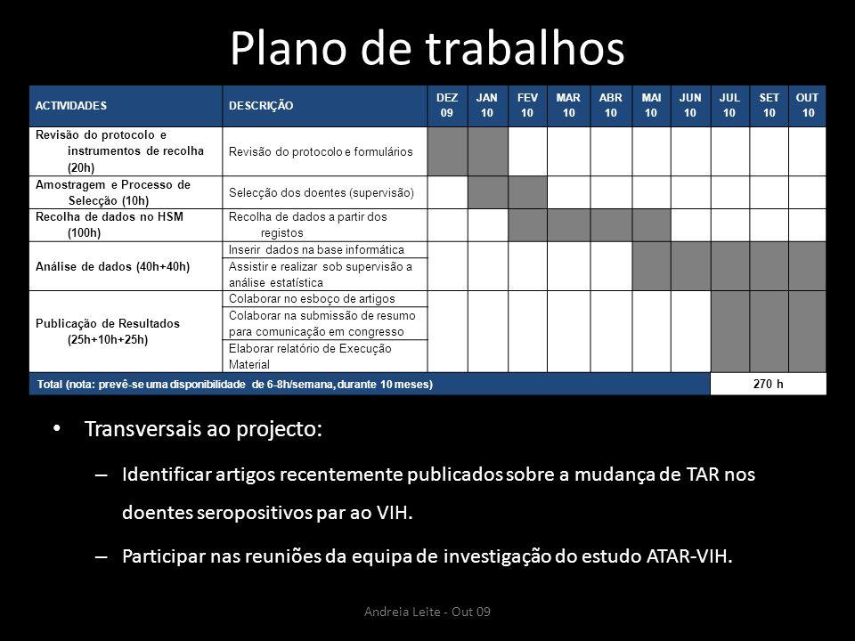 Plano de trabalhos Transversais ao projecto: