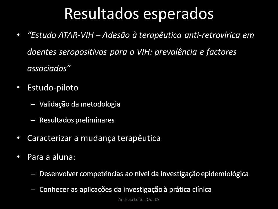 Resultados esperados Estudo ATAR-VIH – Adesão à terapêutica anti-retrovírica em doentes seropositivos para o VIH: prevalência e factores associados