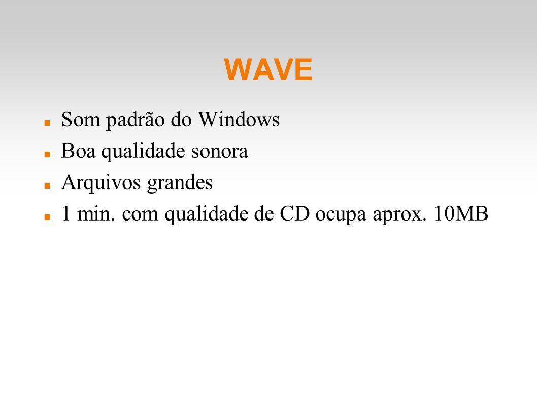 WAVE Som padrão do Windows Boa qualidade sonora Arquivos grandes