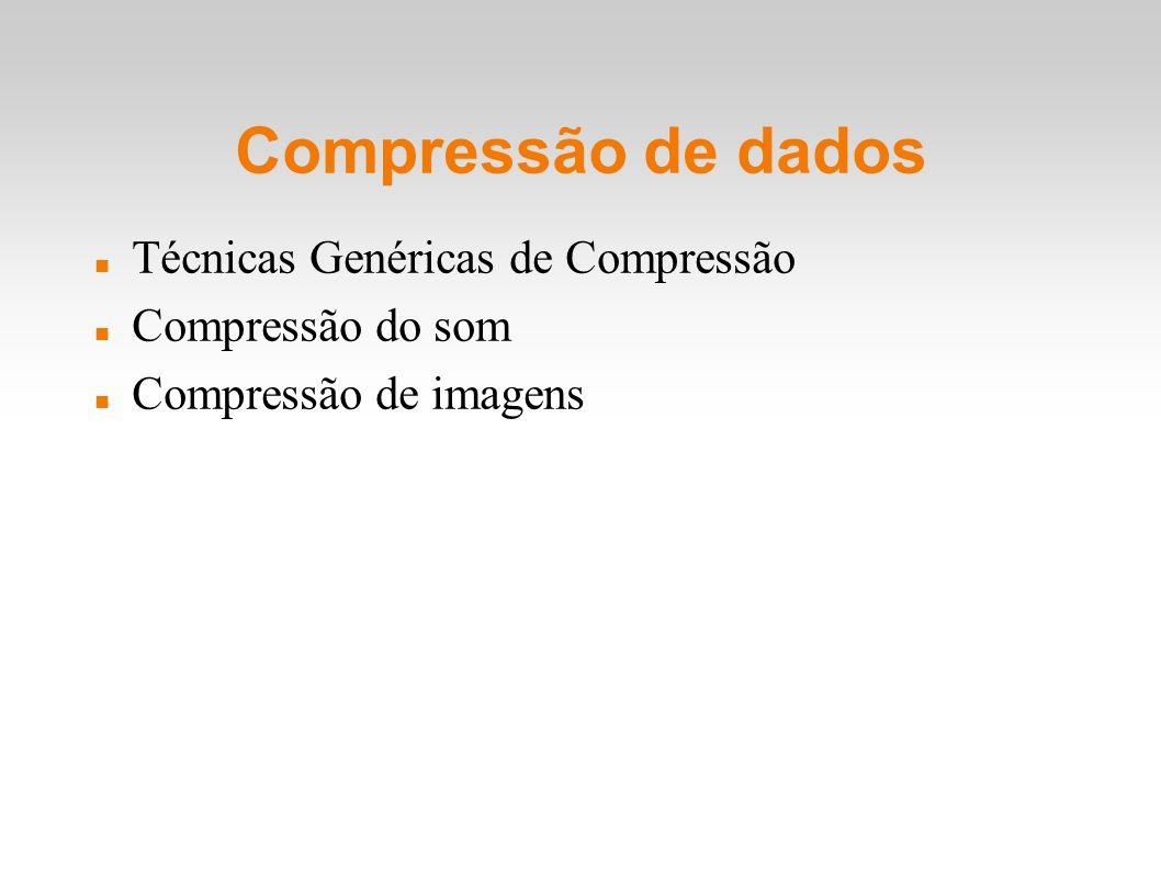 Compressão de dados Técnicas Genéricas de Compressão Compressão do som
