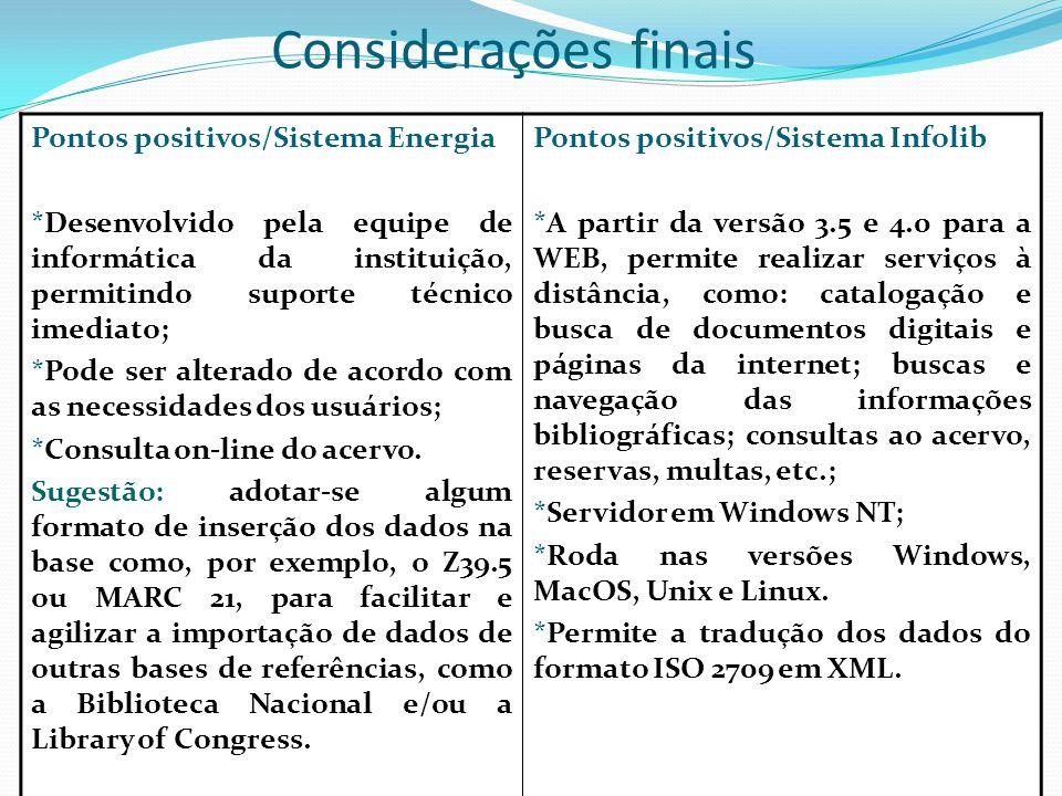 Considerações finais Pontos positivos/Sistema Energia