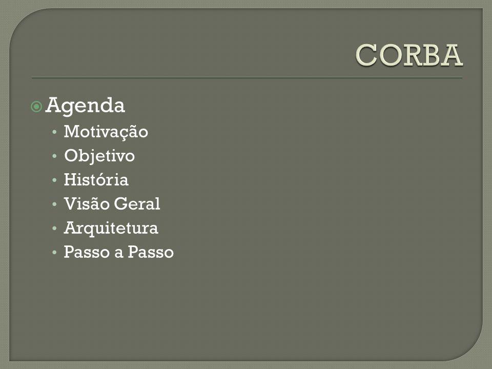 CORBA Agenda Motivação Objetivo História Visão Geral Arquitetura