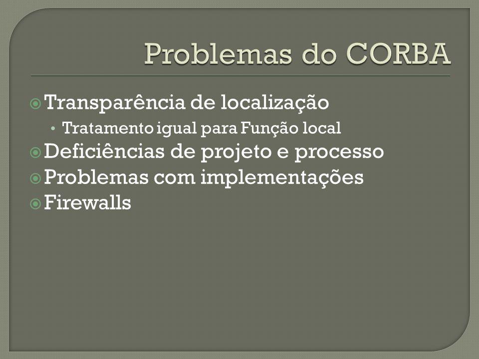 Problemas do CORBA Transparência de localização