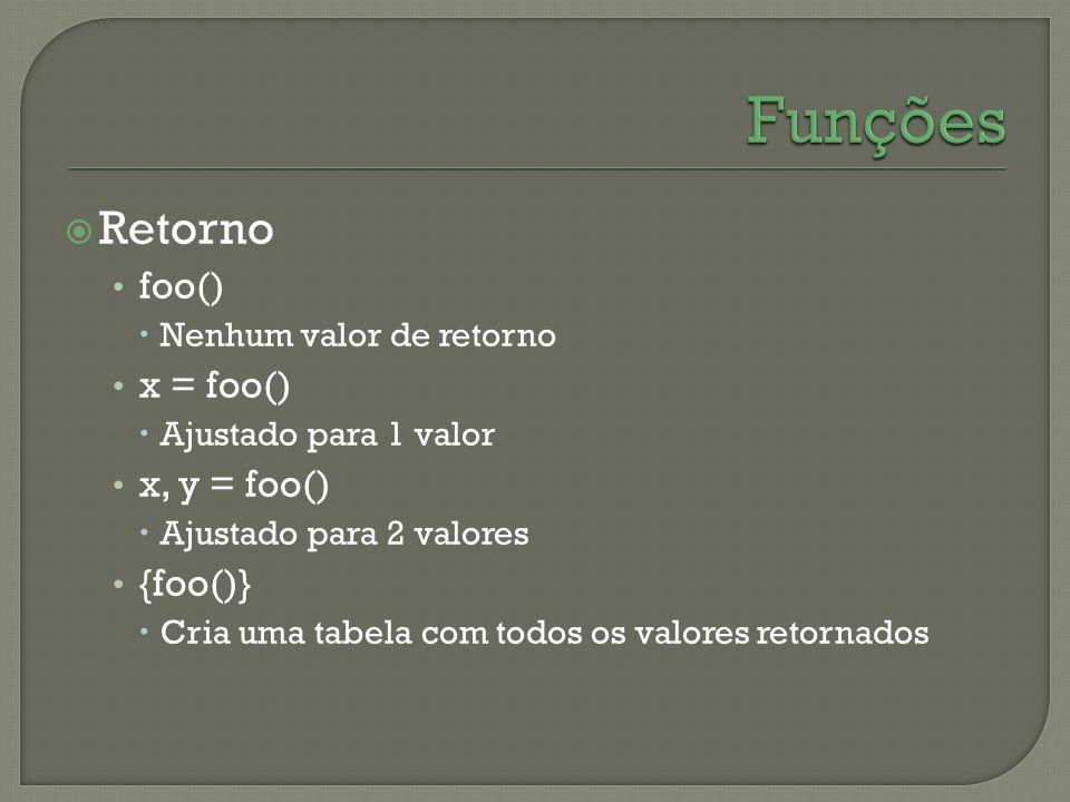Funções Retorno foo() x = foo() x, y = foo() {foo()}