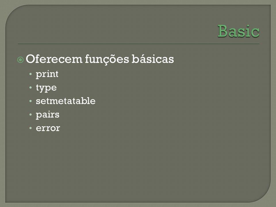 Basic Oferecem funções básicas print type setmetatable pairs error
