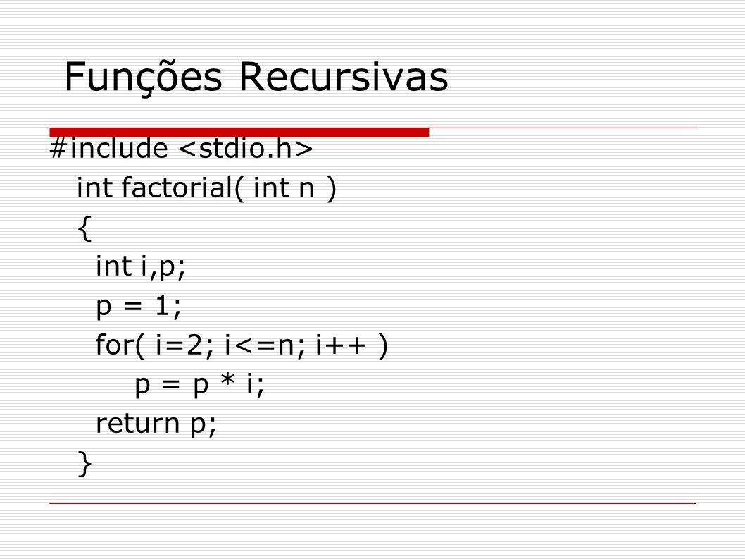 Funções Recursivas #include <stdio.h> int factorial( int n ) {