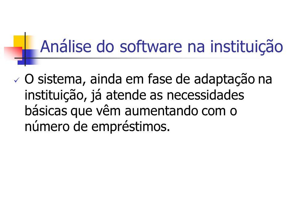 Análise do software na instituição