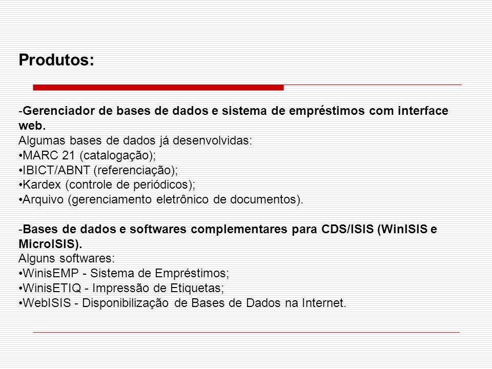 Produtos:Gerenciador de bases de dados e sistema de empréstimos com interface web. Algumas bases de dados já desenvolvidas: