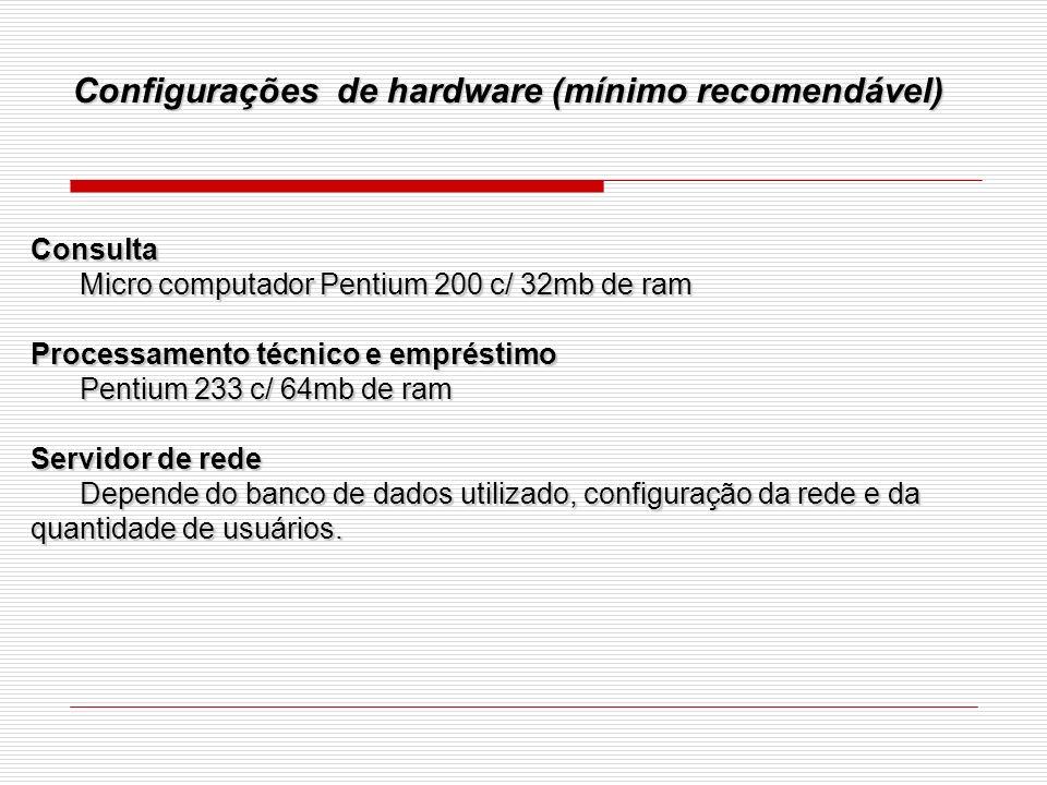 Configurações de hardware (mínimo recomendável)