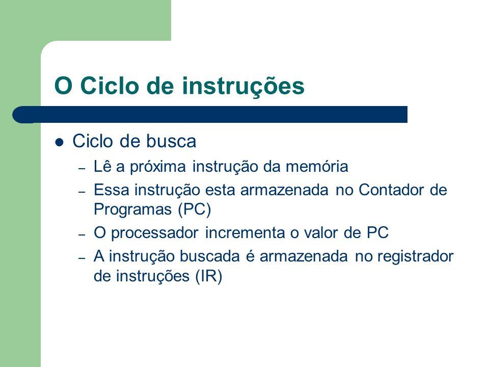 O Ciclo de instruções Ciclo de busca Lê a próxima instrução da memória