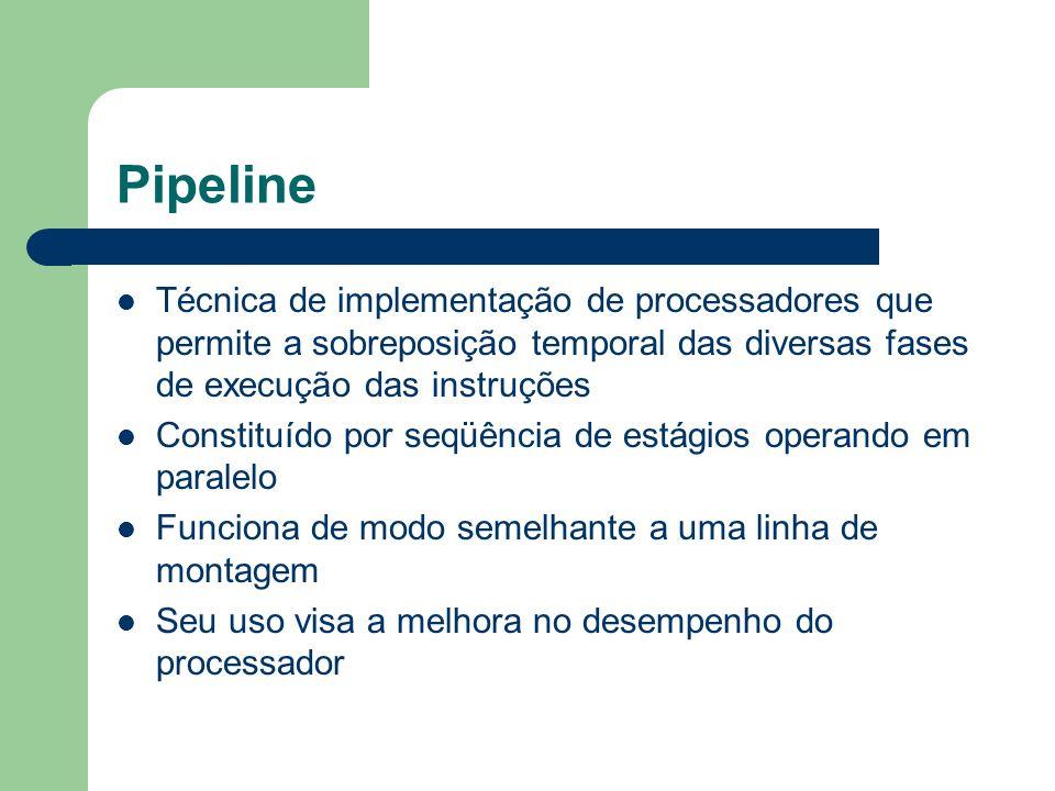 Pipeline Técnica de implementação de processadores que permite a sobreposição temporal das diversas fases de execução das instruções.