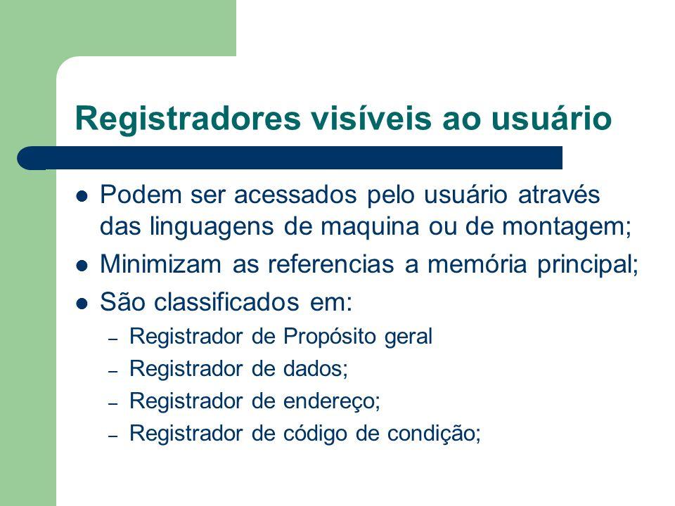 Registradores visíveis ao usuário