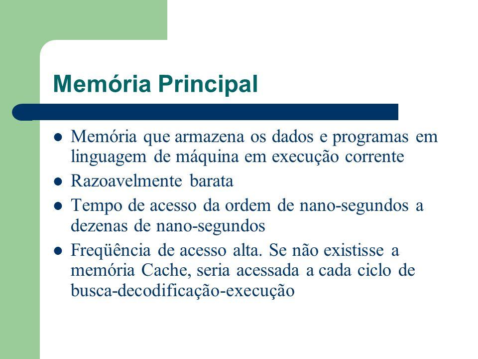 Memória Principal Memória que armazena os dados e programas em linguagem de máquina em execução corrente.
