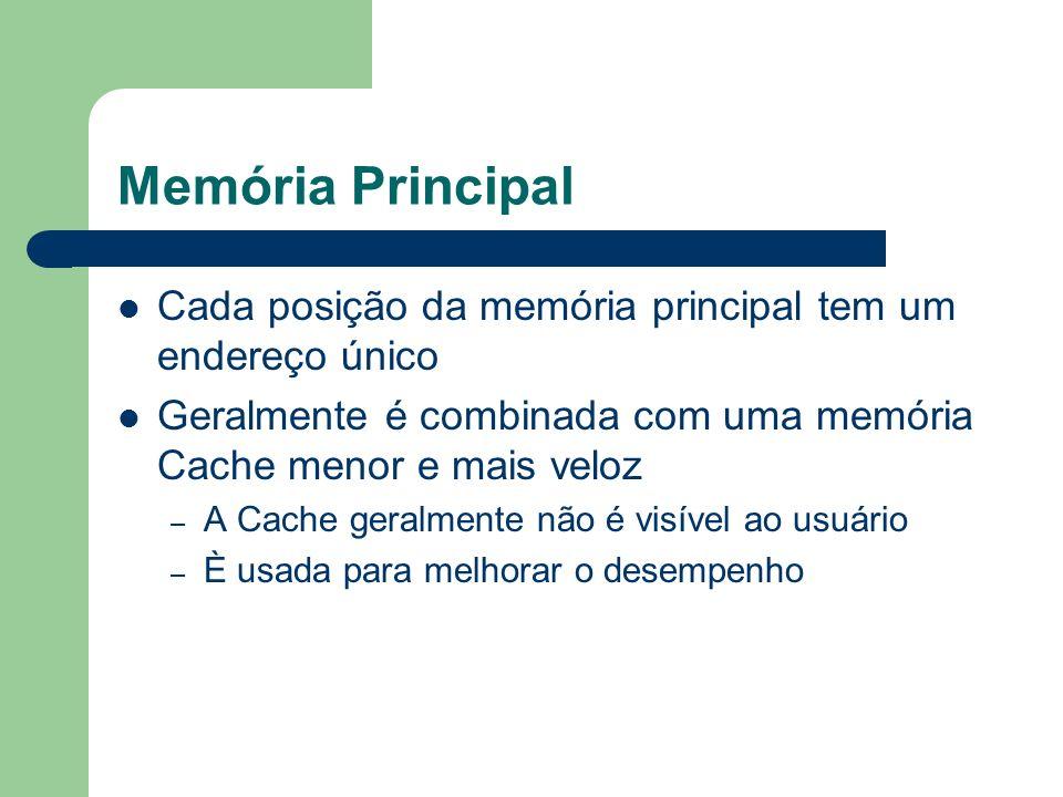 Memória Principal Cada posição da memória principal tem um endereço único. Geralmente é combinada com uma memória Cache menor e mais veloz.