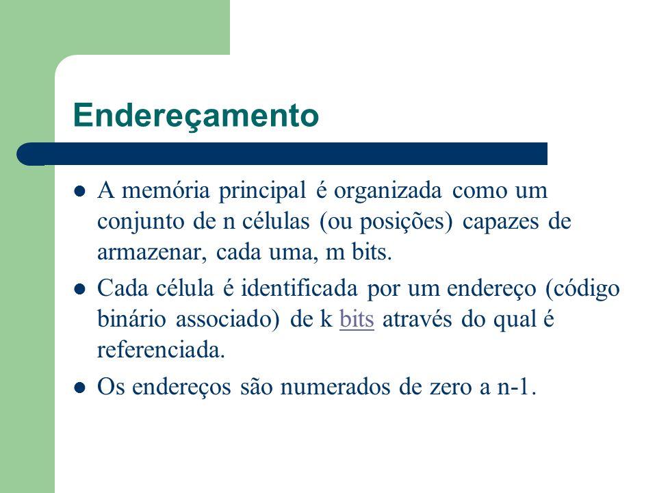 EndereçamentoA memória principal é organizada como um conjunto de n células (ou posições) capazes de armazenar, cada uma, m bits.