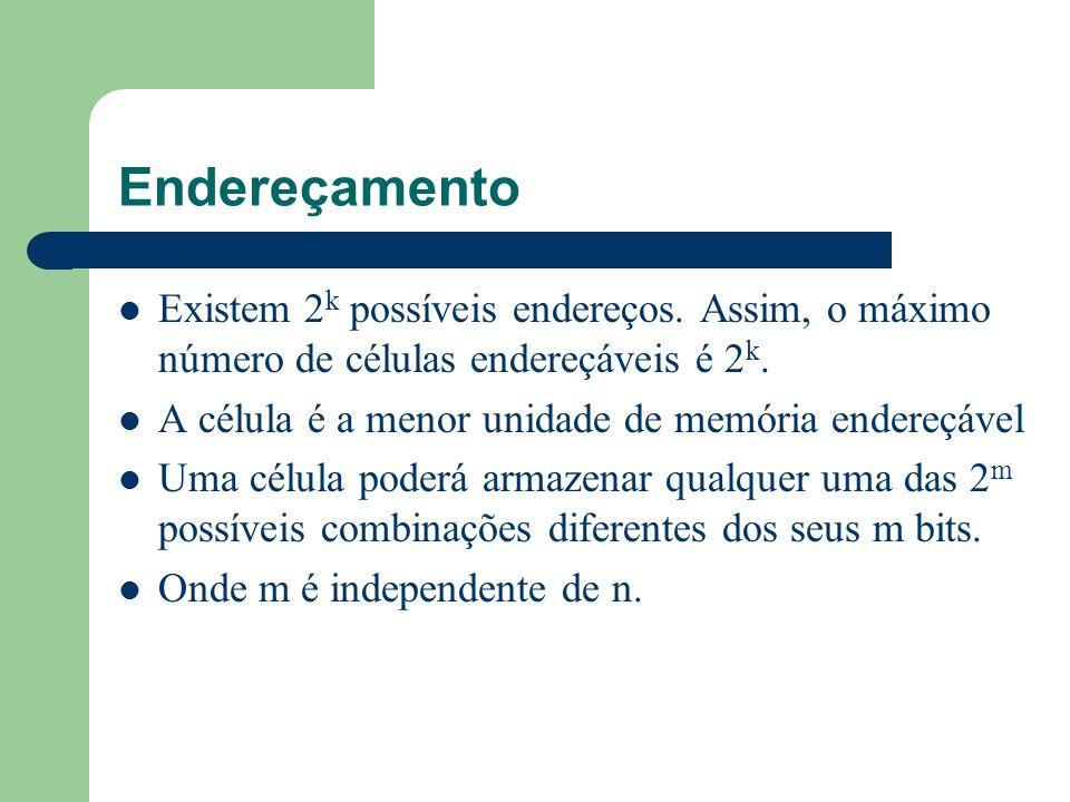 EndereçamentoExistem 2k possíveis endereços. Assim, o máximo número de células endereçáveis é 2k. A célula é a menor unidade de memória endereçável.