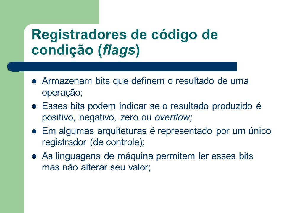 Registradores de código de condição (flags)