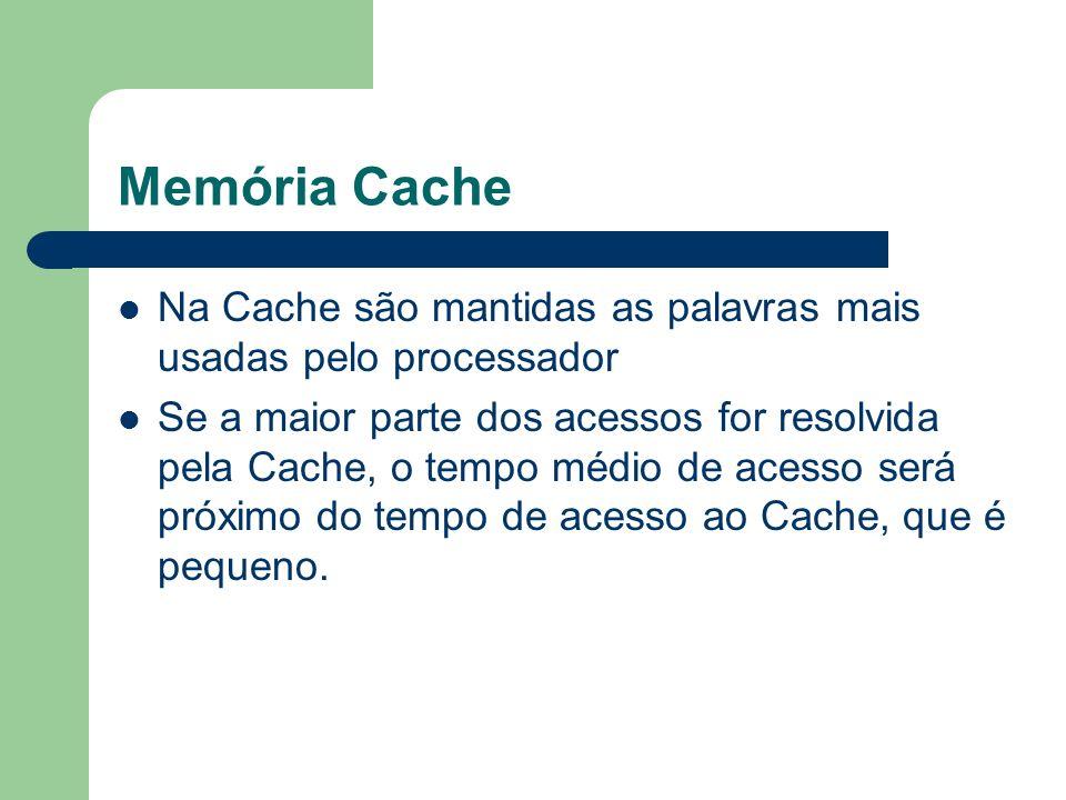 Memória Cache Na Cache são mantidas as palavras mais usadas pelo processador.