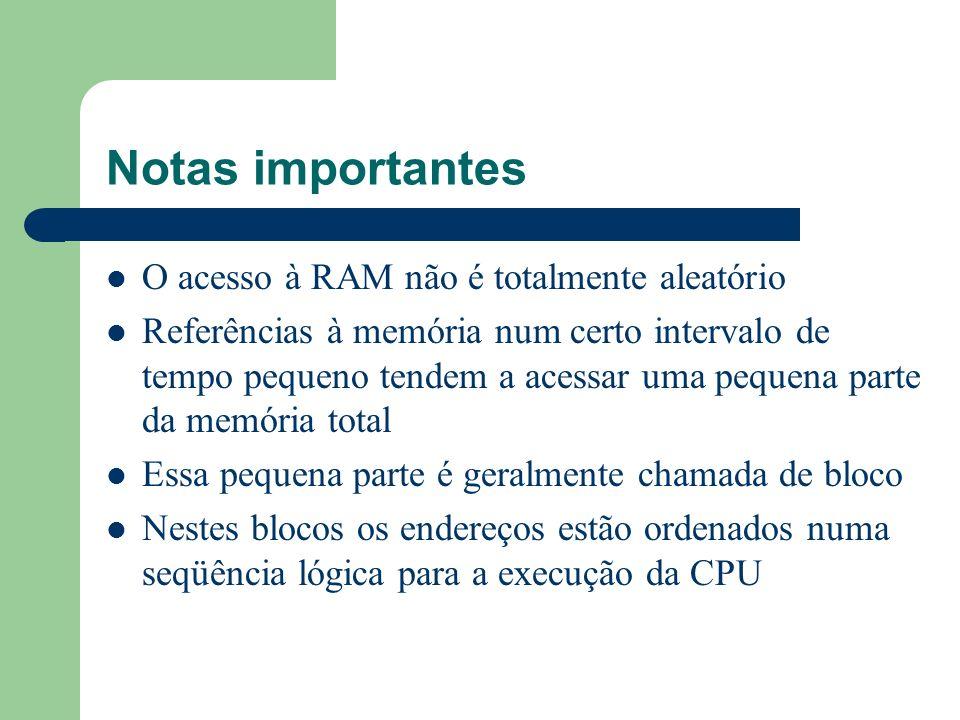 Notas importantes O acesso à RAM não é totalmente aleatório