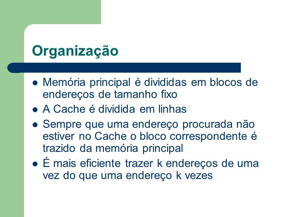 Organização Memória principal é divididas em blocos de endereços de tamanho fixo. A Cache é dividida em linhas.