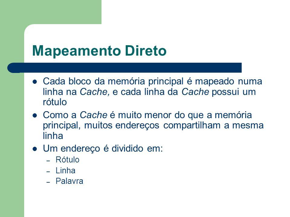 Mapeamento DiretoCada bloco da memória principal é mapeado numa linha na Cache, e cada linha da Cache possui um rótulo.