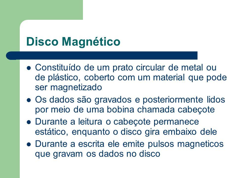 Disco MagnéticoConstituído de um prato circular de metal ou de plástico, coberto com um material que pode ser magnetizado.