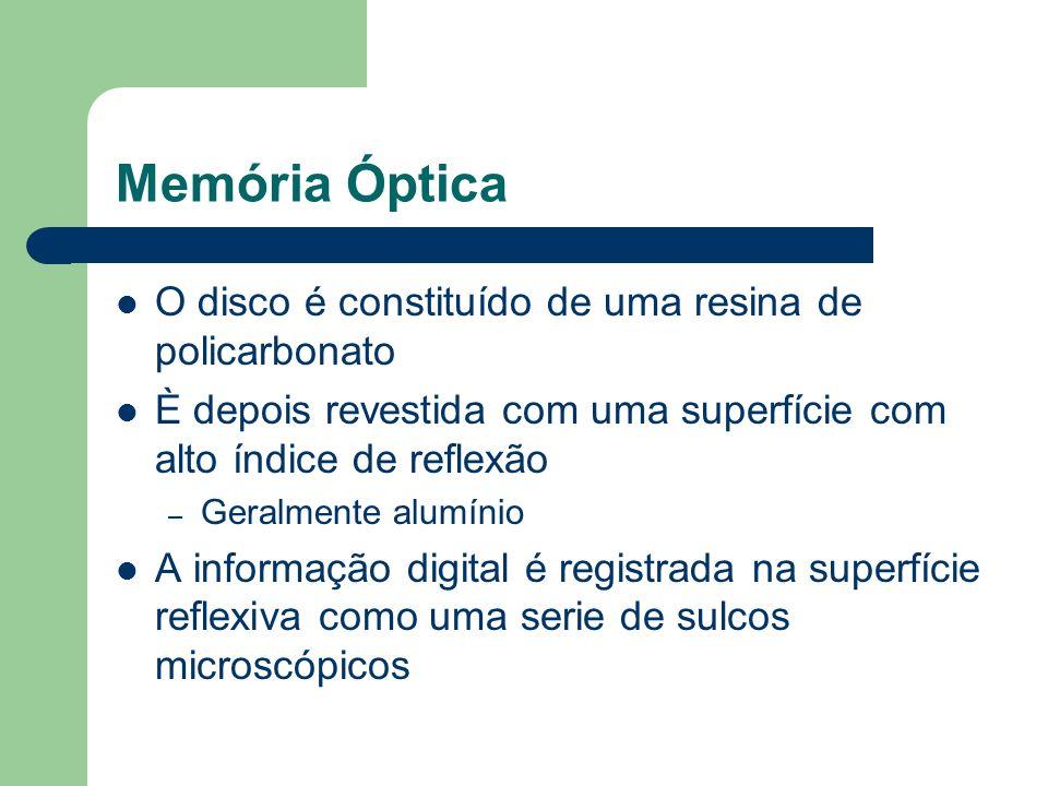 Memória Óptica O disco é constituído de uma resina de policarbonato