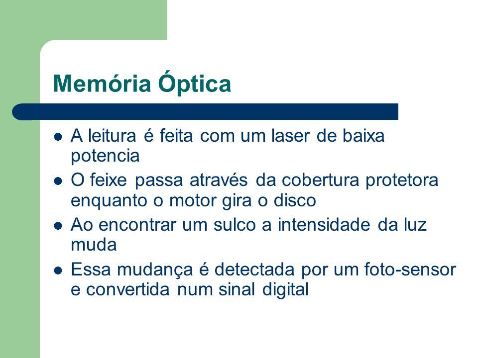 Memória Óptica A leitura é feita com um laser de baixa potencia