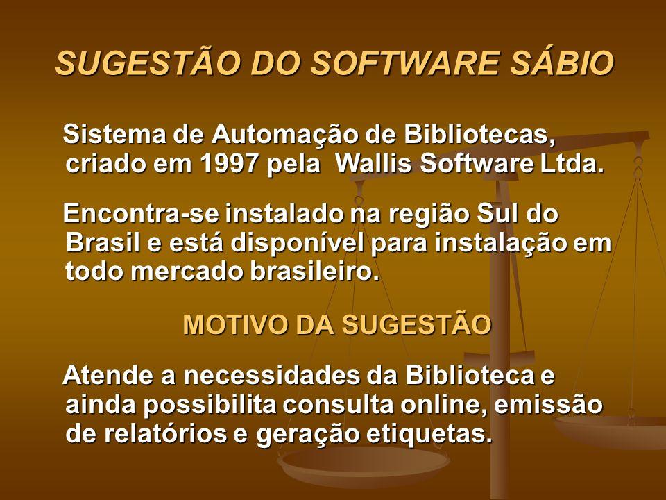 SUGESTÃO DO SOFTWARE SÁBIO